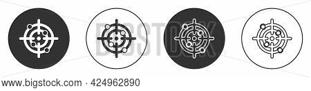 Black Target Sport Icon Isolated On White Background. Clean Target With Numbers For Shooting Range O