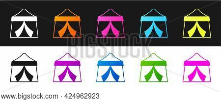 Set Circus Tent Icon Isolated On Black And White Background. Carnival Camping Tent. Amusement Park.