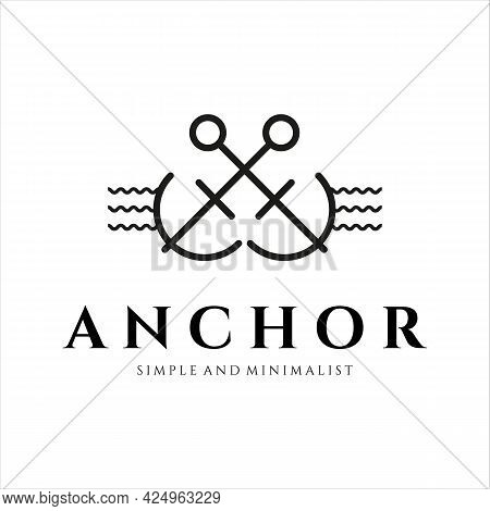Anchor Ship Logo Minimalist Line Art Icon Illustration Template Design. Minimal Logo Emblem Anchor F