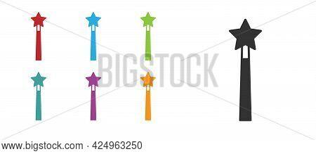 Black Magic Wand Icon Isolated On White Background. Star Shape Magic Accessory. Magical Power. Set I