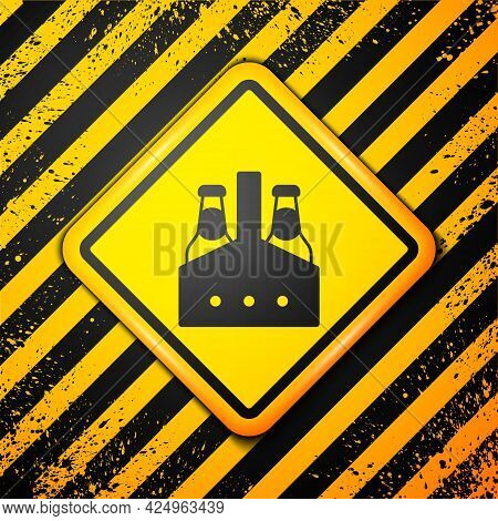 Black Pack Of Beer Bottles Icon Isolated On Yellow Background. Case Crate Beer Box Sign. Warning Sig