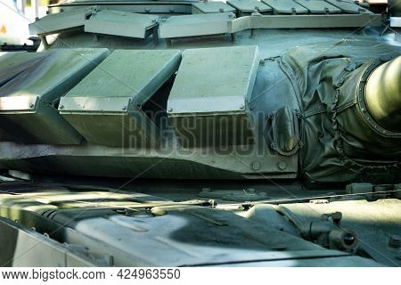 Active Armor Of The Tank's Turret. Military Concept