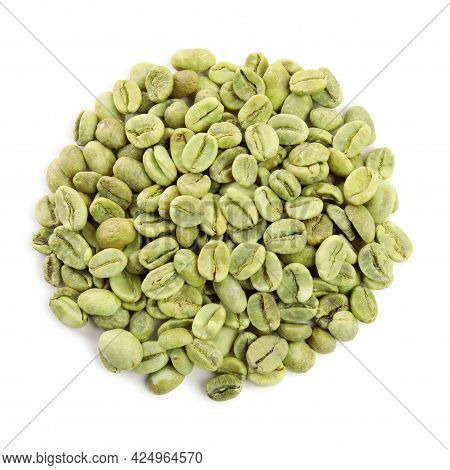 Heap Of Green Coffee Beans Isolated On White, Top View