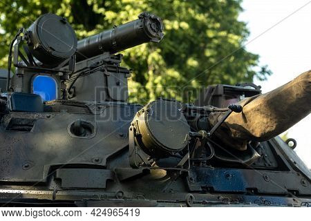 Close-up Of The Armored Turret Of A Military Tank.military Concept
