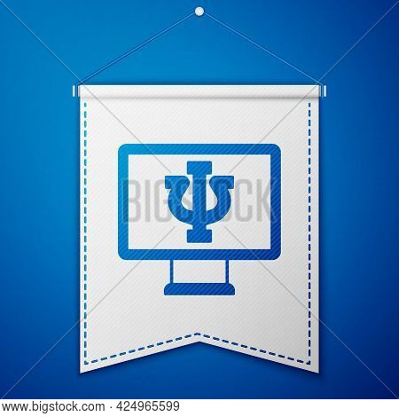 Blue Online Psychological Counseling Distance Icon Isolated On Blue Background. Psychotherapy, Psych