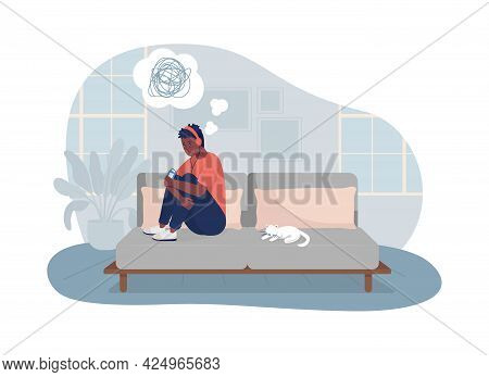 Lonely Teen Boy At Home 2d Vector Isolated Illustration. Unhappy Kid Sitting On Couch. Depressed Chi