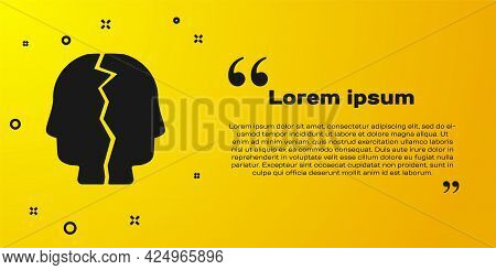Black Bipolar Disorder Icon Isolated On Yellow Background. Vector