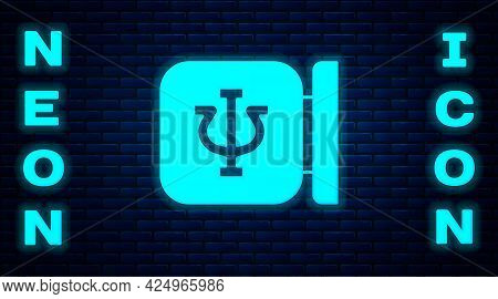 Glowing Neon Psychology Icon Isolated On Brick Wall Background. Psi Symbol. Mental Health Concept, P