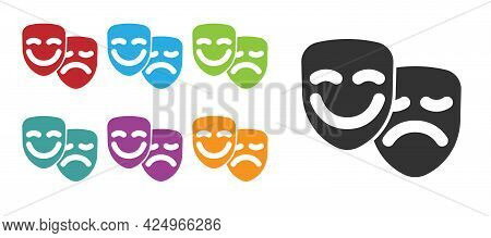 Black Comedy And Tragedy Theatrical Masks Icon Isolated On White Background. Set Icons Colorful. Vec