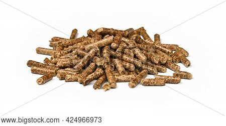 Close Up Pile Of Hardwood Pellets For Natural Food Smoking And Cooking, Isolated On White Background