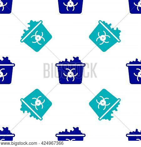 Blue Infectious Waste Icon Isolated Seamless Pattern On White Background. Tank For Collecting Radioa