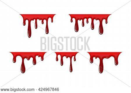 Blood Drip 3d Set. Halloween Bloodstain Isolated White Background. Splatter Stain. Horror Drop Flow.