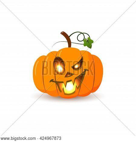 Halloween Pumpkin Icon 3d. Autumn Symbol. Flat Design. Halloween Scary Pumpkin Face, Smile, Candle L