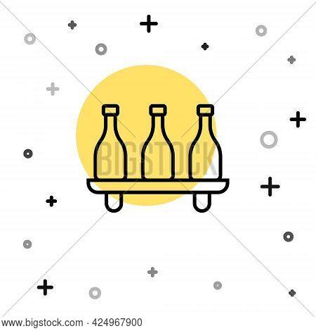 Black Line Bottle Of Wine Icon Isolated On White Background. Wine Varieties. Random Dynamic Shapes.