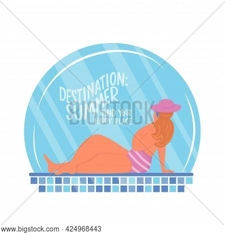 Young Body Positive Woman Near Swimming Pool. Summer Vacation Seaside Concept. Lettering Text Destin