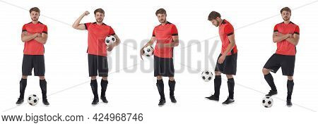 Set Of Man Playing Football Soccer Isolated On White Background, Red Jersey Uniform
