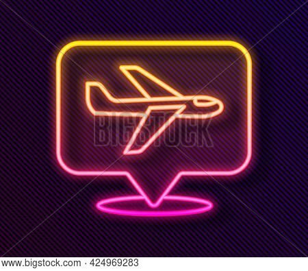 Glowing Neon Line Plane Icon Isolated On Black Background. Flying Airplane Icon. Airliner Sign. Vect