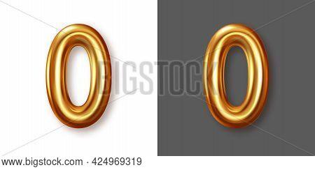 Metallic Gold Numeral Symbol - 0. Creative Vector Illustration