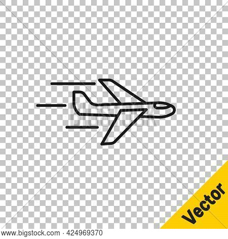 Black Line Plane Icon Isolated On Transparent Background. Flying Airplane Icon. Airliner Sign. Vecto