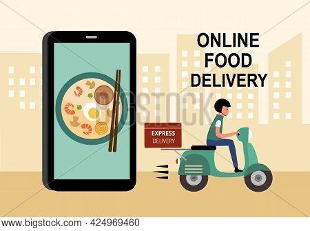 Online Food Order And Food Delivery Service Concept Vector Illustration. Asian Food Or Noodle Online
