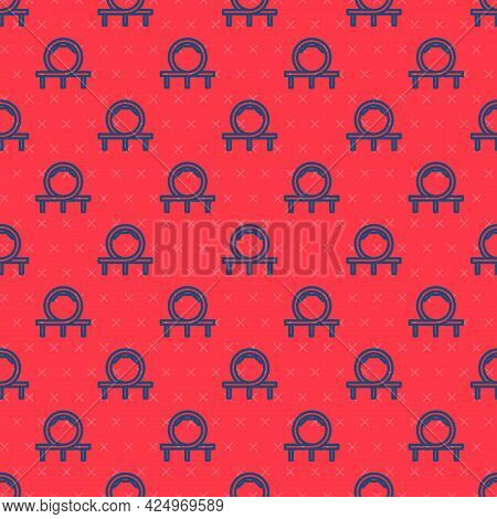 Blue Line Roller Coaster Icon Isolated Seamless Pattern On Red Background. Amusement Park. Childrens