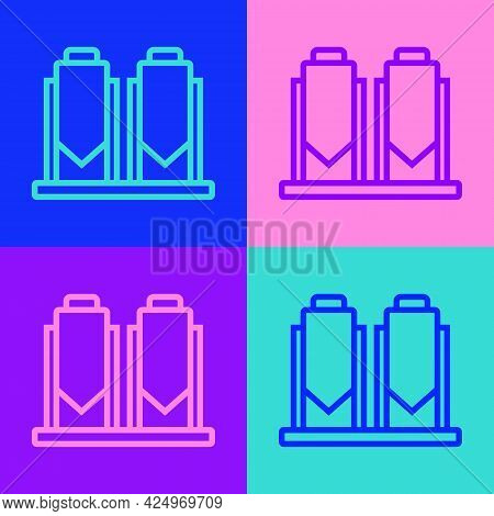 Pop Art Line Traditional Brewing Vessels In Brewery Icon Isolated On Color Background. Beer Brewing