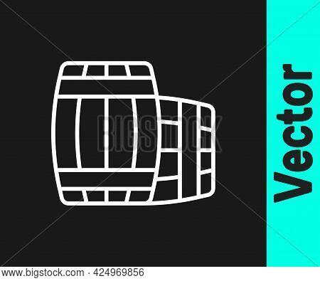 White Line Wooden Barrel Icon Isolated On Black Background. Alcohol Barrel, Drink Container, Wooden