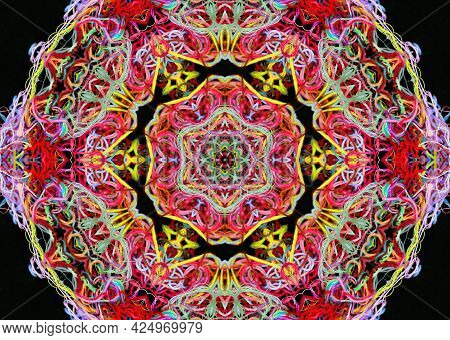 Abstract Pattern Of Bright Multicolored Threads On A Black Background With 3d Effect