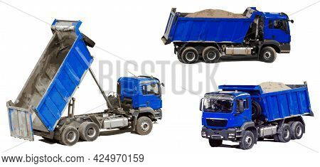 Dump Trucks For The Transport Of Bulk Materials In The Construction Industry. In Profile, At An Angl
