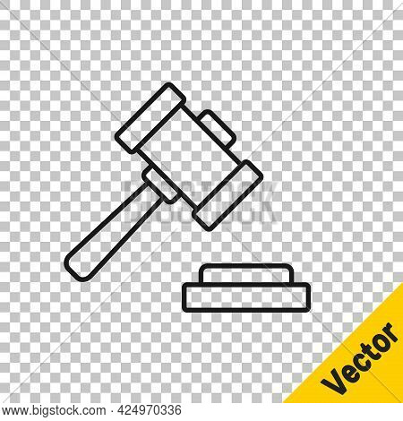 Black Line Judge Gavel Icon Isolated On Transparent Background. Gavel For Adjudication Of Sentences