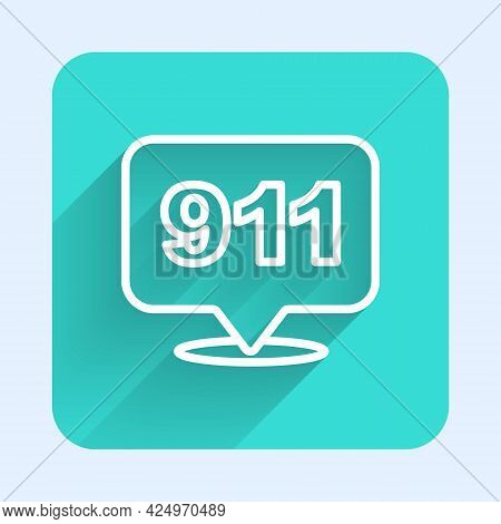 White Line Telephone With Emergency Call 911 Icon Isolated With Long Shadow Background. Police, Ambu