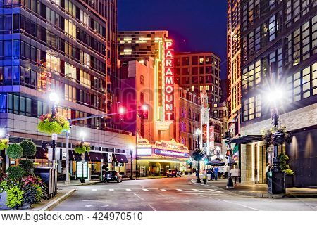 Boston, Usa - Sep 13, 2017: View To Famous Historic Theater District In Boston, Massachussets With A