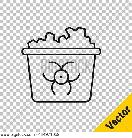 Black Line Infectious Waste Icon Isolated On Transparent Background. Tank For Collecting Radioactive