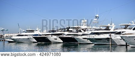 Sea Voyage Like Never Before. Yachts Docked In Miami, Usa. Luxury Yachts In Berth. Modern Sea Boats