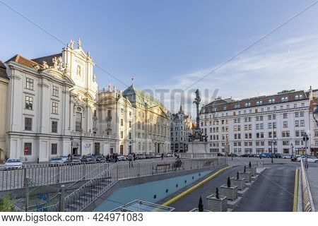 Vienna, Austria - April 26, 2015:  People Enjoy Shopping At The Most Famous Pedestrian Zone The Grab