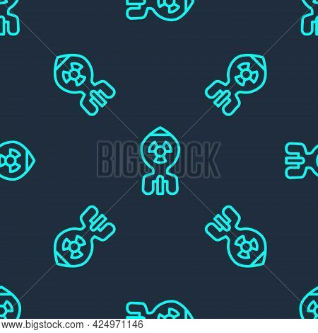 Green Line Nuclear Bomb Icon Isolated Seamless Pattern On Blue Background. Rocket Bomb Flies Down. V