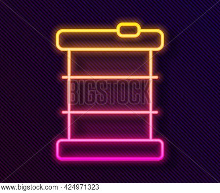 Glowing Neon Line Radioactive Waste In Barrel Icon Isolated On Black Background. Toxic Refuse Keg. R