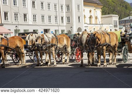 Salzburg, Austria - April 21, 2015: Horse Coaches Are Ready For Tourist Rides In The Old Town Of Sal