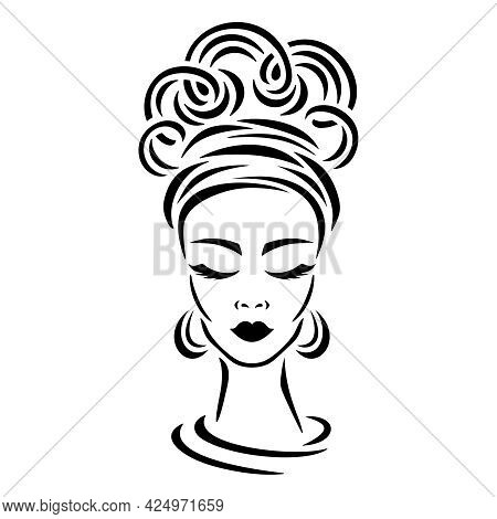 Sketch Of A Woman's Head. A Beautiful Face, Closed Eyes, Curly Hair Combed Up, Earrings And A Bandan