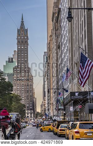 New York, Usa - October 21, 2015:  Street View In New York Seen From Central Park, New York. The Bui