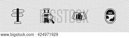 Set Road Traffic Sign, Lost Baggage, Conveyor Belt With Suitcase And Airplane Window Icon. Vector