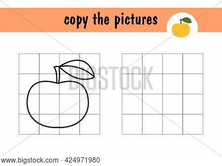 For A Children S Mini-game, Draw An Apple On Paper. Copy The Picture Of The Fruit Using Grid Lines,