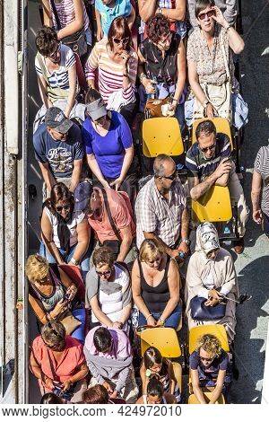 Paris, France - June 13, 2015: People Enjoy The Boat Trip On River Seine In Paris, France.  Some 3.5