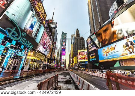 New York, Usa - October 21, 2015:   Times Square, Featured With Broadway Theaters And Huge Number Of