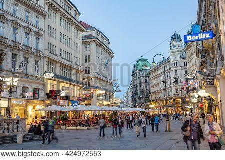 Vienna, Austria - April 26, 2015:  People Visit Graben In Vienna By Night. Graben Street Is Among Mo