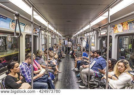 Boston, Usa - September 13, 2017: People Ride In The Underground In Boston, Usa. The Metro Massachus