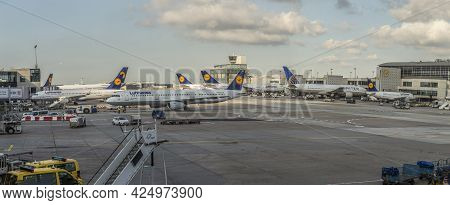 Frankfurt, Germany - July 6, 2015: Boarding Lufthansa Jet Airplane In Frankfurt Airport. Lufthansa I