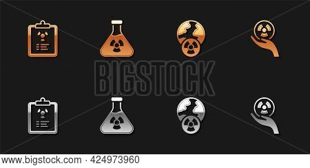 Set Radiation Warning Document, Test Tube Radiation, Planet Earth And And Radioactive Icon. Vector