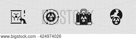 Set Radioactive Waste In Barrel, , Radiation Nuclear Suitcase And Planet Earth And Radiation Icon. V
