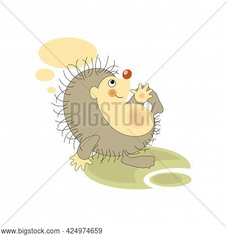 Fallen Hedgehog. Sticker, Badge, Sticky Label With Quote. Lovely Happy Funny Character For Telephone